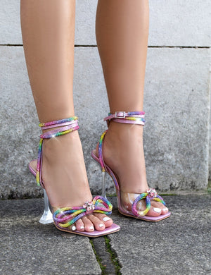Glimmer Rainbow Wrap Around Diamante Bow Square Toe Heels
