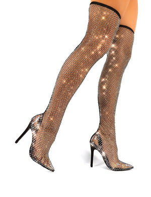 Deal Breaker Wide Fit Black Diamante Fishnet Stiletto Over the Knee High Heels