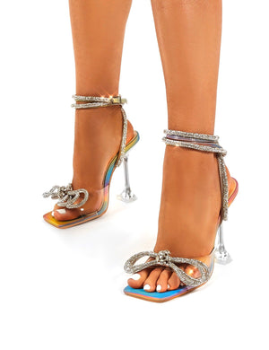 Glimmer Multi Holographic Wrap Around Diamante Bow Square Toe Heels