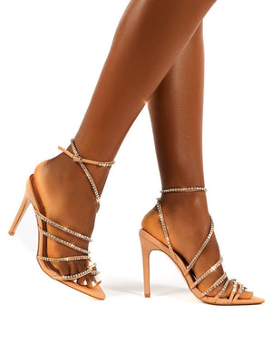 Starstruck Nude Diamante Strappy Stiletto Heels