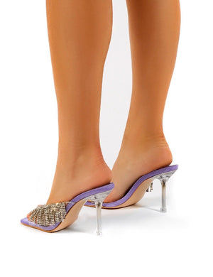 Shimmer Lilac Diamante Tassel Square Toe Perspex Mules Sandals Heels