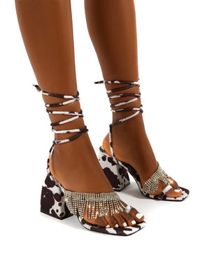 Peri Multi Lace Up Diamante Fringe Detail Toe Loop Chunky Heel