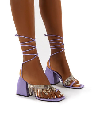Peri Lilac Lace Up Diamante Fringe Detail Toe Loop Chunky Heel