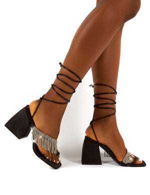 Peri Black Lace Up Diamante Fringe Detail Toe Loop Chunky Heel
