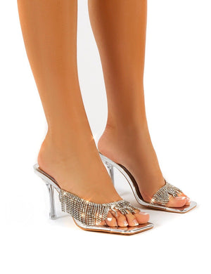 Shimmer Silver Diamante Tassel Square Toe Perspex Mules Sandals Heels