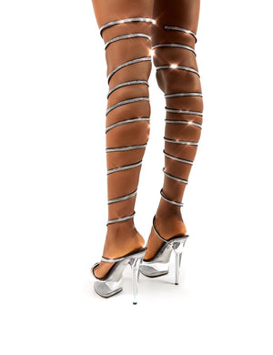 Hypnotised Black Diamante Thigh High Wrap Around Perspex Platform Stiletto Heels