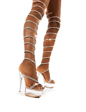 Hypnotised Nude Diamante Thigh High Wrap Around Perspex Platform Stiletto Heels