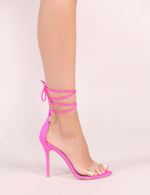 Jorja Lace Up Heels in Neon Pink