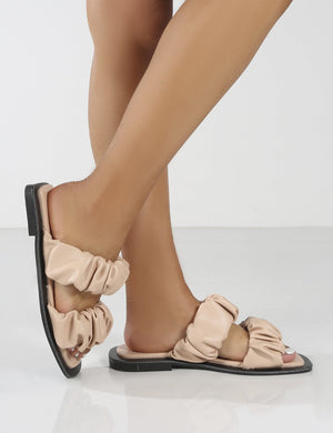 KoKo Pink Ruched Strappy Flat Sandals