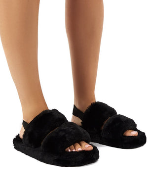 Lullaby Black Fluffy Strap Back Slippers