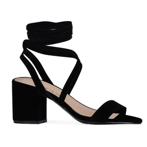 Sophie Heeled Sandals in Black Faux Suede