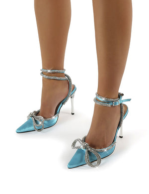 Midnight Teal Satin Wrap Around Diamante Bow High Heels