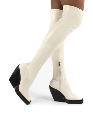 Nix Bone Square Toe Over the Knee Block Heel Boots