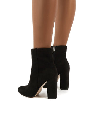 Presley Ankle Boots in Black Faux Suede