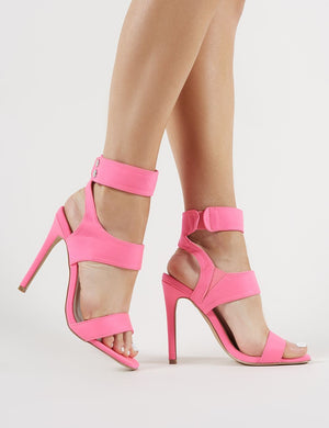 Pulse Strappy Stiletto Heels in Neon Pink