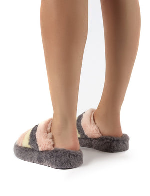 Sleepy Grey Fluffy Sliders Faux Fur Slippers