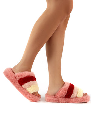 Sleepy Pink Fluffy Sliders Faux Fur Slippers