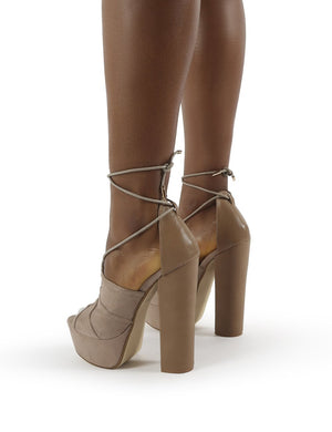 Suzanna Nude Lace Up Platform Block Heels