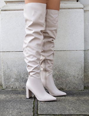 Theirs Taupe Wide Fit  PU Over the Knee Boots