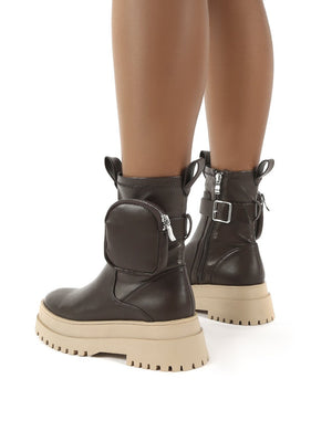 Thought Chocolate Pu Pocket Chunky Sole Ankle Boot
