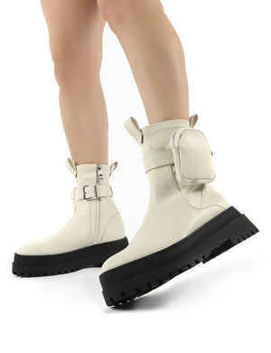 Thought Bone Pu Wide Fit Pocket Chunky Sole Ankle Boot