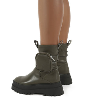 Thought Khaki Pu Wide Fit Pocket Chunky Sole Ankle Boot