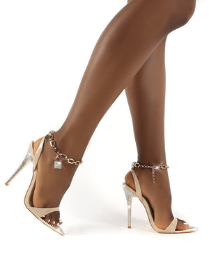 Triumphant Nude Diamante Lock Chain Anklet Stiletto Heels