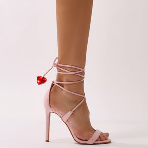Venus Heart High Heels in Pink Faux Suede
