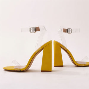 Charlotte Perspex High Heels in Yellow