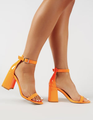 Grier Block Heel Barely Theres in Orange Patent