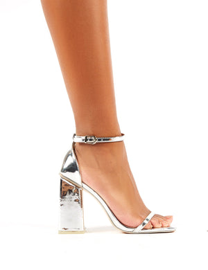 Anna Silver Patent Square Block Heel Barely Theres