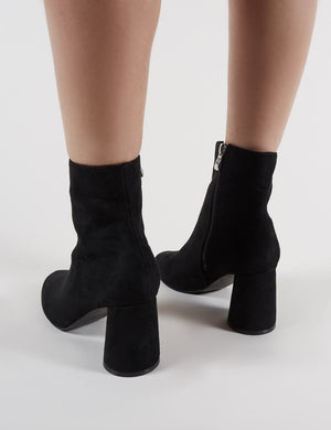Bronte Round Heeled Ankle Boots in Black Faux Suede