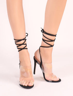 Dreamy Lace Up Perspex Heels in Black Faux Suede