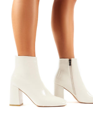 Aimee White Crinkle Patent Square Toe Block Heeled Ankle Boots