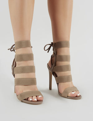 Harper Strappy Stiletto Heels in Taupe