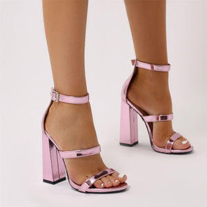 Oyster Triple Strap Flared Block Heels in Light Pink Metallic