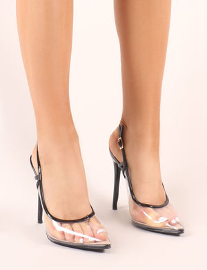 Spotlight Perspex Court Heels In Black Patent