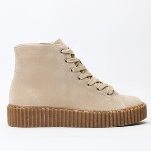 Iyla Hi Top Creepers in Nude Faux Suede and Gum Sole
