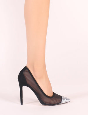 Chelsea Mesh Court Heels with Silver Glitter