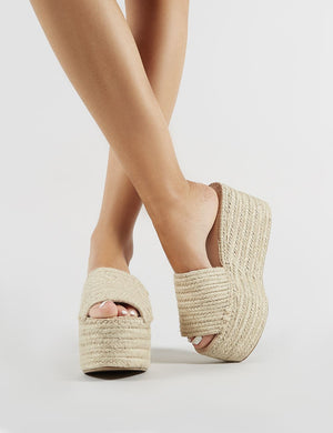 Bodhi Flatform Sandals in Natural Woven