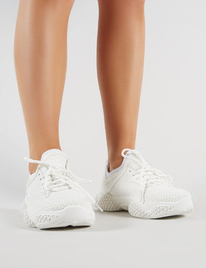 Blur Chunky Mesh Trainers in White