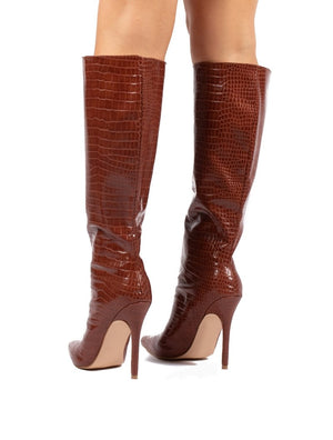 Define Tan Croc Stiletto Heeled Boots
