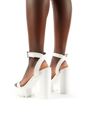 Deja Vu Cleated Platform Block Heels in White Croc