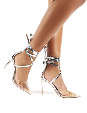 Devote Silver Perspex Lace Up Stiletto Heels