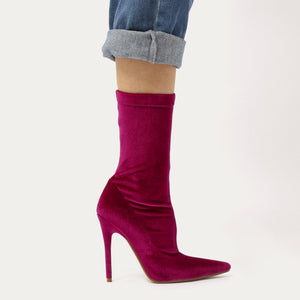 Direct Pointy Sock Boots in Hot Pink Velvet
