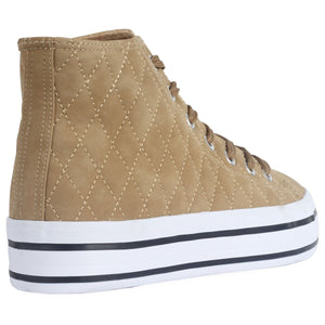 Beige Quilted High Top Trainers