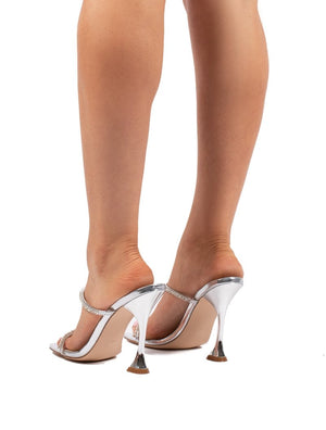 Effortless Silver Barely There Diamante Heels
