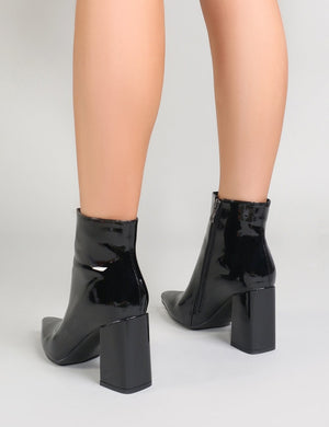 Empire Pointed Toe Ankle Boots in Black Patent