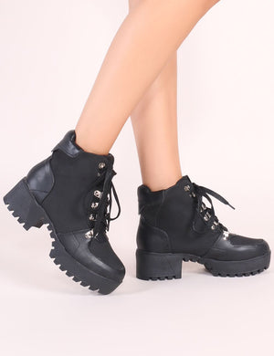 Salute Lace Up Biker Boots in Black