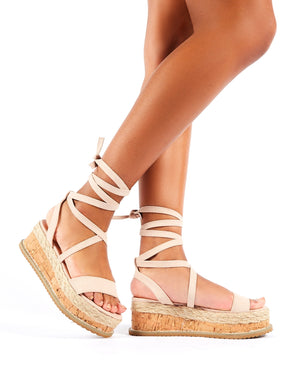 Fresca Lace Up Sandal in Nude Faux Suede